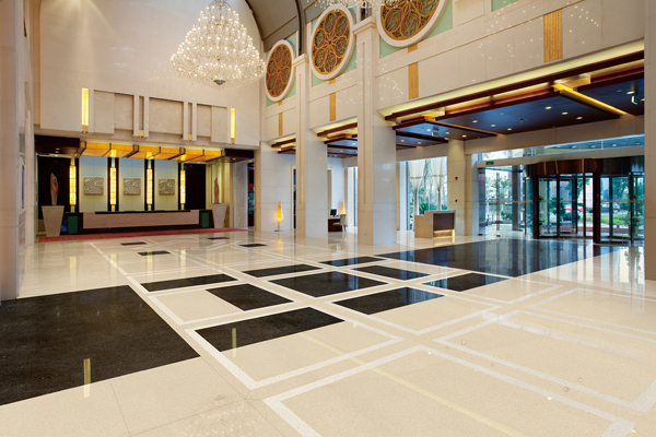 Hotel large area flooring marble tiles