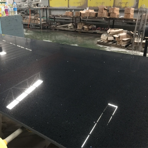 Black galaxy quartz slab