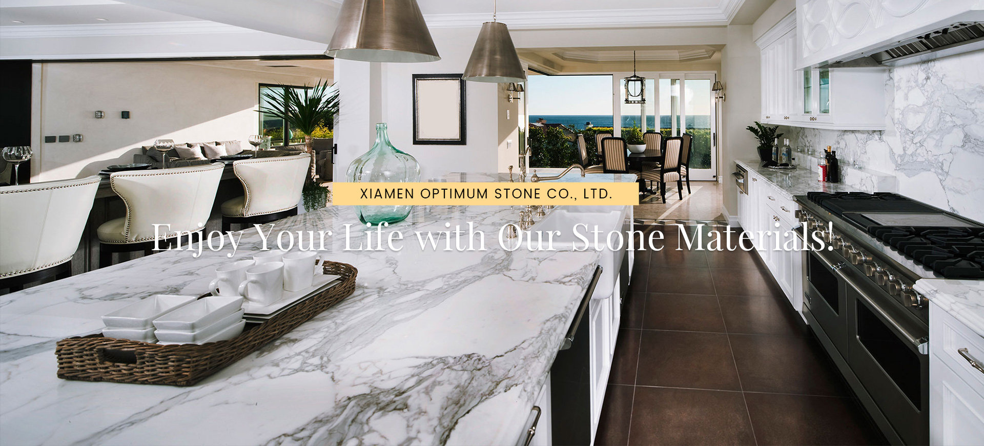 Quartz stone kitchen countertop